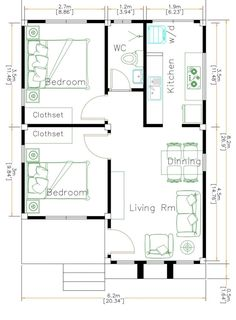 Small House Plan Ideas For Different Area - Engineering Discoveries One Level House Plans, 2bhk House Plan, Small House Floor Plans, Simple House Plans, Best House Plans, Story House, The Plan, How To Plan, One Storey House
