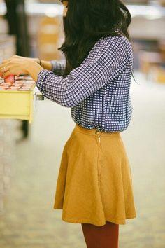 Checkered shirt / yellow skirt