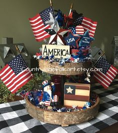 American flag wooden block, tiered tray decor, Memorial day decor, of July decorations, farmhous Memorial Day Decorations, 4th Of July Decorations, Bar Decorations, Fourth Of July Decor, 4th Of July Wreath, July 4th, Independance Day, Seasonal Decor, Holiday Decor