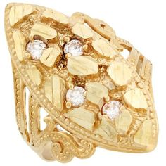14k Solid Yellow Gold Nugget Diamond Cut CZ Filigree « Holiday Adds
