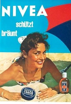 Original vintage poster NIVEA SUNTAN CREAM LADY BEACH 1957 #PhotoRealism