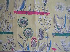 Vintage 50's Heals Lucienne Day,Mahler era pattern cotton fabric