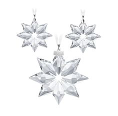 Swarovski 2013 Christmas Ornaments Set Swarovski 2013 Annual edition set of three ornaments includes two small and one large star Christmas ornament. If you are a collector or give these out each year as gifts, we highly recommend that you place a pre order as we can never predict how soon they will sell out.  $140