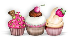The Cupcake Shop Cupcake Kunst, Cupcake Art, Cupcake Cakes, Vintage Cupcake, Cupcake Illustration, Cupcake Clipart, Food Clipart, Birthday Clipart, Cupcake Shops