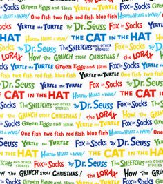 Dr. Seuss Words Print Fabric Cotton Fabric