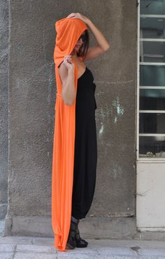 New Collection Long Orange White Black Hooded Vest by EUGfashion