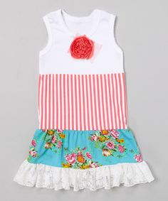 Take+a+look+at+the+White+&+Turquoise+Stripe+Floral+Tank+Dress+-+Toddler+&+Girls+on+#zulily+today!