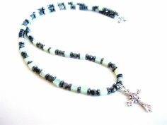 Mens cross necklace mens gemstone beaded by Bravemenjewelry