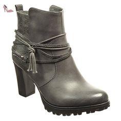 Angkorly - Chaussure Mode Bottine low boots plateforme femme peau de serpent lanière Talon haut bloc 8 CM - Intérieur Fourrée - Gris - F193-1 T 40 - Chaussures angkorly (*Partner-Link)