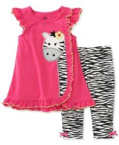 Kids Headquarters 2-Pc. Zebra Tunic & Capri Leggings Set, Baby Girls (0-24 months) - Pink 3-6 months