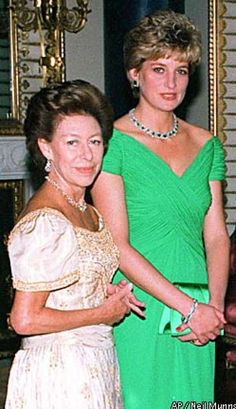 Princess Margaret, left, attended a party with Princess Diana at Buckingham Palace in 1992. Associated Press photo by Neil Munns