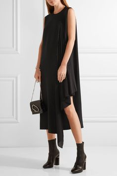 Black silk-crepe and chiffon  Concealed hook fastenings along back 100% silk; trim: 100% polyester; lining: 100% cupro Dry clean
