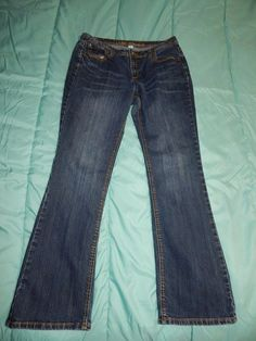 Jeans Size 12 Cato Premium stitching stretchy Back Pocket Flap Measures 32x30.5…