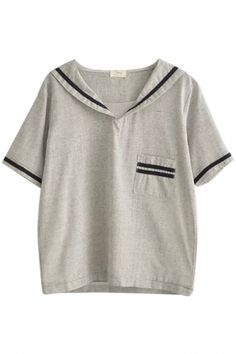 Gray Stripe Tiny Pocket Navy Style Lapel Blouse
