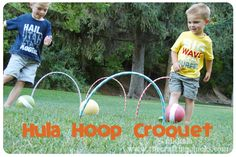 love this! hula hoop croquet for the kids!