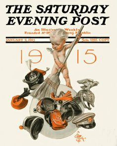 SWEEP  IT AWAY: J.C. Lyendecker's front cover illustration for the Saturday Evening Post, New Years' 1915.  Sweep away the European war.  Nice resolution; poor prediction.