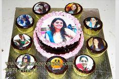 PHOTO CAKE WITH CUPCAKES
