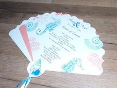 Wedding Program Fans Personalized For Beach Ceremony