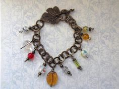Vintage Leaf Toggle Orange Glass Bead Bracelet £12.00