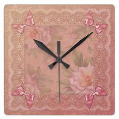 Vintage Roses and Ribbons Wall Clock