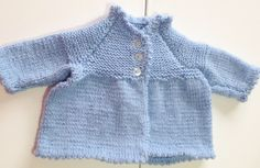 Baby Hand knitted blue cardigan / top with picot edging, chest approx 19.5 inch…