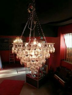 Chandelier of recycled  wineglasse