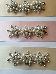 Pearl and Crystal Flowers Jewel Bridal / Occasion Belt / Sash * Any Colour *