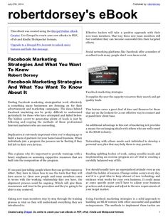 Facebook marketing strategies and what you want to know about it by Robert Dorsey via slideshare