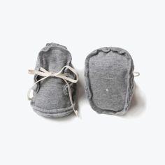 Organic Raw Edged Booties - Grey Melange - 0m-1y