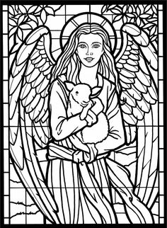 Church coloring pages include church buildings, stained glass windows, and church music. Some easy coloring pages for kids and some harder ones for the adults. Print them all for free. Church Coloring Pages Dover Coloring Pages, Angel Coloring Pages, Printable Coloring Pages, Coloring Pages For Kids, Coloring Sheets, Coloring Books, Kids Coloring, Stained Glass Angel, Christmas Coloring Pages