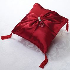 Diamond Red Ring Pillow plus more red ring bearer pillows in a variety of styles and sizes. A ring pillow will make your wedding rings shine on your wedding day and will make a great keepsake after the wedding. Wedding Ring Cushion, Wedding Pillows, Cushion Ring, Ring Bearer Pillows, Ring Pillows, Lillian Rose, Red Satin, Satin Sash, Red Wedding