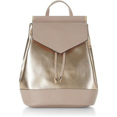 New Look Rose Gold Metallic Panel Backpack (€26) ❤ liked on Polyvore featuring bags, backpacks, gunmetal, handle bag, knapsack bag, one strap backpack, draw string backpack and rucksack bags
