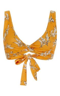 This **Camp Cove** bikini stop features a eucalyptus print on a sunburnt yellow body with a simple knot at the front.