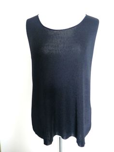 NWOT EILEEN FISHER Size Med BLACK SILKY KNIT SLEEVELESS TOP  #EileenFisher #KnitTop #Any