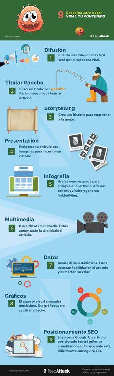 9 consejos para hacer viral tu contenido #infografia #infographic #marketing