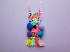 Statement pom pom necklace, weaved necklace, handpainted polymer necklace, tassel necklace, aztec inspired and colourful