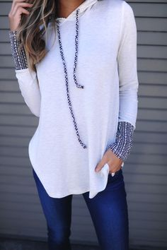 Grey Contrast Sleeve Hooded Top - Dottie Couture Boutique