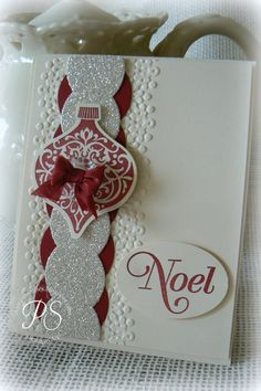 Stampsnsmiles - Season of Greetings stamp set, Ornament Keepsakes and framelits, Cherry Cobbler, oval punch, embossing folder, Glimmer paper, ribbon, button - 12-14-2012