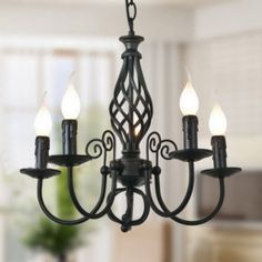 $160 Black Chandelier with 5 Lights in Classic Style
