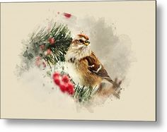 American Tree Sparrow Watercolor Art Metal Print By Christina Rollo