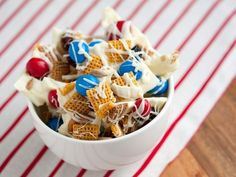 Fourth of July Dessert Ideas - Patriotic Chex Mix