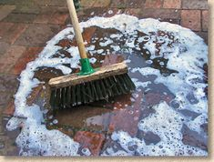 Soapy water can be swilled onto the surface of the paving