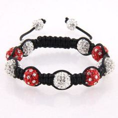 Clear, red and clear polka dot crystal beads with two clear end beads.