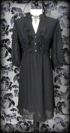 Vintage Victorian Black Chiffon High Collar Ruffle Tea Dress 14 16 Romantic Goth | THE WILTED ROSE GARDEN // Worldwide Shipping Available