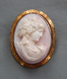 Antique Victorian Gold Fill  Carved Pink Blush Angel Skin Coral Cameo Brooch Pin