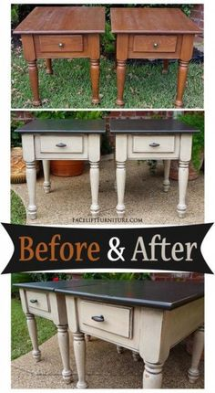 Take vintage solid wood side tables and with a Fresh coat of paint they look brand new again ! DIY before and after painted Matching end tables in distressed Black & Oatmeal - Before and After from Facelift Furniture Refurbished Furniture, Repurposed Furniture, Furniture Makeover, Vintage Furniture, Upcycled Furniture Before And After, Bedroom Furniture Redo, Redoing Furniture, How To Distress Furniture, Diy Furniture Repurpose