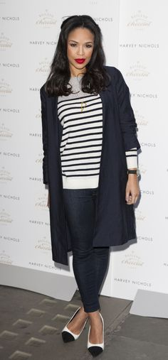 Sarah Jane Crawford's striped top and casual jeans. www.handbag.com