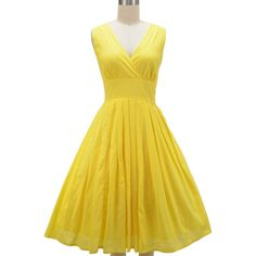 pinup style surplice sun dress lemon yellow found on Polyvore featuring polyvore, fashion, clothing, dresses, yellow day dress, yellow sun dress, pinup dresses, surplice dress and sundress dresses