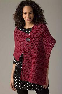 Lion Brand: Level 1 Crocheted Shawl - Free Pattern. Beginner level shawl in chunky yarn. Free registration required.