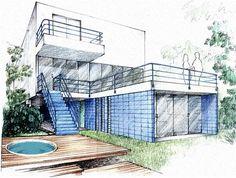 Perspectiva é: Desenho tridimensional de fachadas e ambientes.É o método que permite a representação de objetos tridimensionais em superfícies bidimensionais, através de determinadas regras geométricas de projeção.  .
